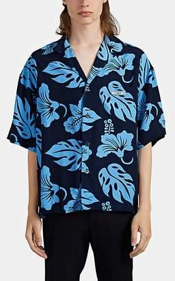 Prada Men's Hibiscus-Print Camp Shirt - Blue