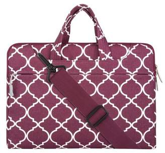 Mosiso Quatrefoil Style Canvas Fabric Laptop Sleeve Case Cover Bag with Shoulder Strap for 13-13.3 Inch MacBook Pro, MacBook Air, Notebook Computer, Wine Red