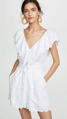 Rebecca Taylor Sleeveless Embroidery Linen Romper