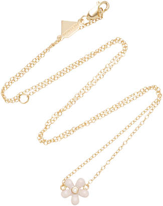 Alison Lou 14K Gold Diamond Wildflower Necklace