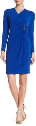 Modern American Designer Mock Wrap Embellished Dress