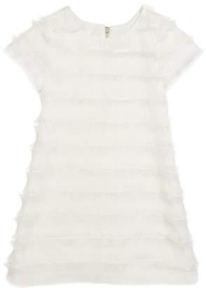 Zoe Fringe Short-Sleeve Sheath Dress, Size 7-16