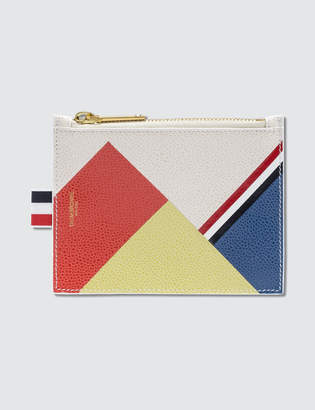Thom Browne Pebble Grain and Calf Leather Small Coin Purse with Directional Color Block & RWB Diagonal Stripe
