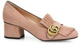 Gucci Marmont GG Suede Block Heel Pumps $750 thestylecure.com