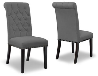 Glamour Home Set of 2 Aleki Grey Fabric Dining Chair Roll Back with Tufted Buttons and Nail Heads