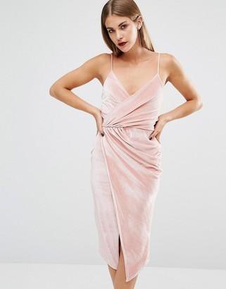 Boohoo Velvet Strappy Wrap Midi Dress $35 thestylecure.com