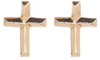Candela 14K Gold Diamond Cut Cross Stud Earrings