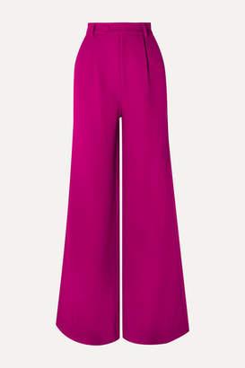 Rebecca De Ravenel Wool-crepe Wide-leg Pants - Magenta