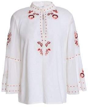 Vilshenko Embroidered Cotton-Gauze Blouse