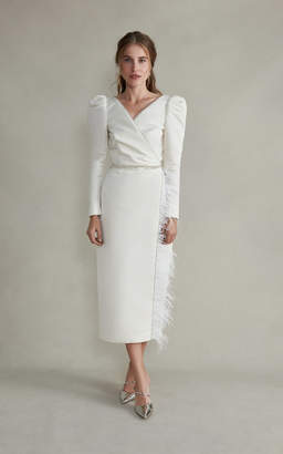 Markarian Artemis Midi Sleeved Silk Crossover Dress With Feathers