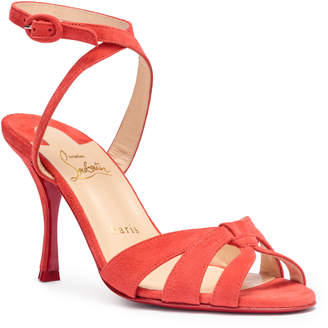 Christian Louboutin Trezuma 85 light red suede sandals