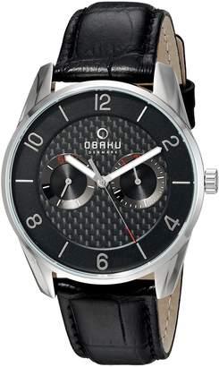 Obaku Men's Quartz Stainless Steel and Leather Dress Watch, Color:Black (Model: V171GMCBRB)