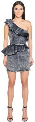 Ruffled Stretch Cotton Denim Dress $298 thestylecure.com