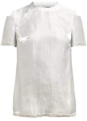 Prada Floral Lace Trim Silk Charmeuse Top - Womens - White