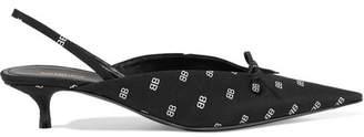 Knife Bow-embellished Printed Satin Slingback Pumps - Black