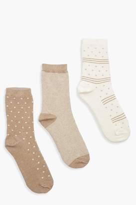 boohoo Tonal Pattern 3 Pack Socks