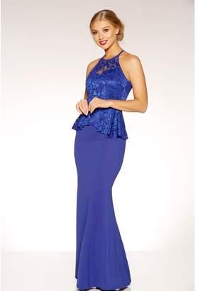 Quiz Royal Blue Sweetheart Neck Peplum Maxi Dress
