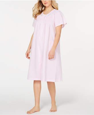 Miss Elaine Stripe-Print Embroidery Seersucker Robe