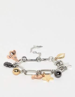 Fiorelli mixed charm plated bracelet