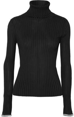 Alexander Wang Crystal-embellished Ribbed-knit Turtleneck Sweater - Black