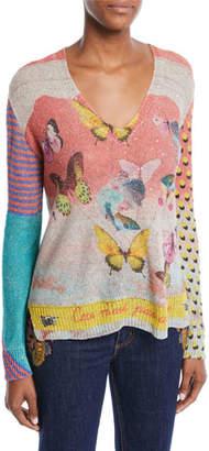 Etro V-Neck Long-Sleeve Butterfly-Knit Paillette Sweater