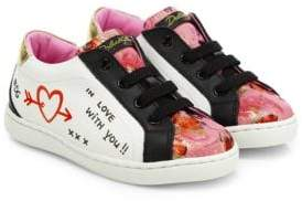Dolce & Gabbana Toddler's& Kid's Graffiti Low-Lace Leather Sneakers