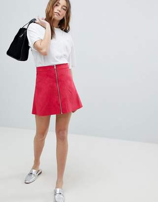 Only Zip Through Faux Suede A-Line Skirt
