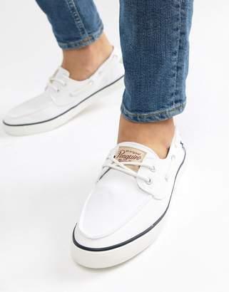 Original Penguin Boat Shoes In White