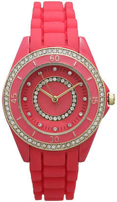 OLIVIA PRATT Olivia Pratt Womens Rhinestone Bezel Rhinestone Dial Hot Pink Silicone Watch 40036Hot Pink