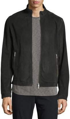 Theory Suede Zip Track Jacket, Charcoal $995 thestylecure.com