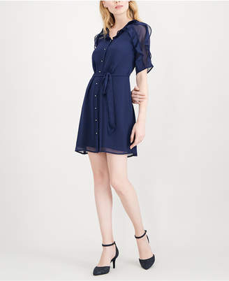 Maison Jules Ruffle-Trimmed Shirtdress
