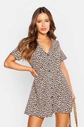 boohoo Petite Leopard Print Button Shift Dress