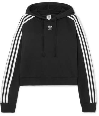 adidas Cropped Striped Cotton-jersey Hoodie - Black