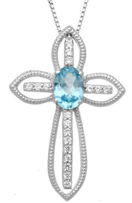Silver Cross FINE JEWELRY Genuine Swiss Blue Topaz & Lab-Created White Topaz Sterling Pendant Necklace