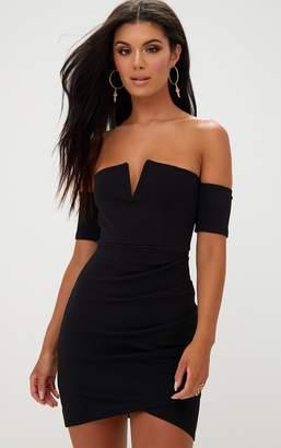 PrettyLittleThing Black Bardot Wrap Front Bodycon Dress