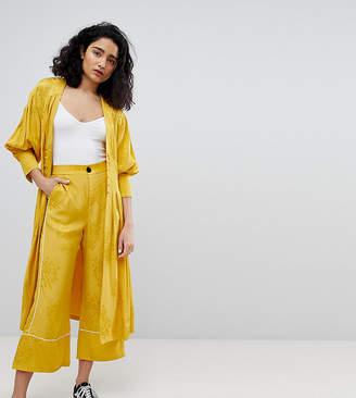Bershka wide leg floral pants in yellow