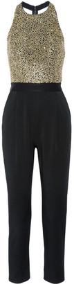 Alice + Olivia - Jeri Embellished Tulle And Hammered-satin Jumpsuit - Black $740 thestylecure.com