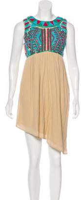 Gryphon Embroidered Mini Dress w/ Tags Beige Embroidered Mini Dress w/ Tags