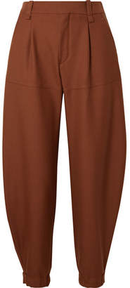 Chloé Wool-twill Tapered Pants - Brown
