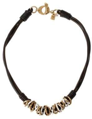 Robert Lee Morris Soho Atlantis Two-Tone Ring and Leather Necklace