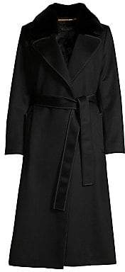Escada Women's Manor Cashmere Rabbit Fur-Collar Belted Coat
