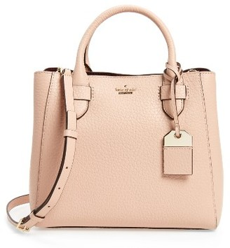 Kate Spade New York Carter Street - Devlin Leather Satchel - Beige $378 thestylecure.com