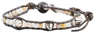 Chan Luu Silver Tone Hardware & Brown Leather with Gemstones Stud Wrap Bracelet