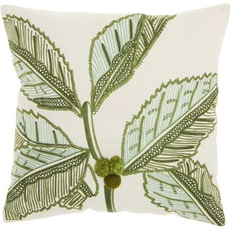 Nourison Royal Palm Tropical Leaves Green Throw Pillow