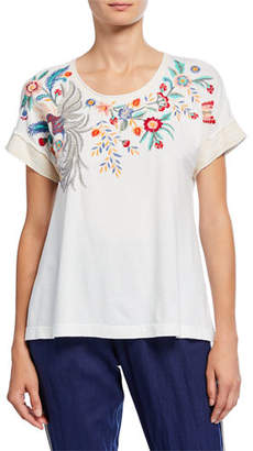 Johnny Was Bisous Raw Seam Effortless Short-Sleeve Tee with Embroidery