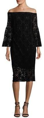 Shoshanna Najlah Off-the-Shoulder Velvet Lace Cocktail Dress