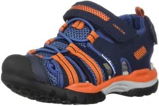 Geox Boy's J Borealis BOY Flat Sandals, Navy/Orange