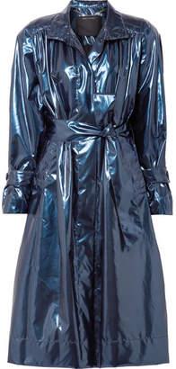 Marc Jacobs Belted Metallic Vinyl Trench Coat - Blue