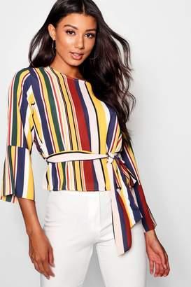 boohoo Linda Stripe Tie Back Split Sleeve Blouse