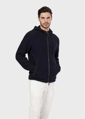 Giorgio Armani A Blouson In Microcheck-Effect Wool With A Hood
